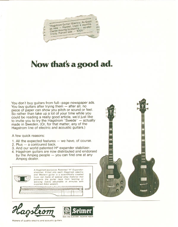 Hagstrom advertisement (1974) Now thats a good ad.