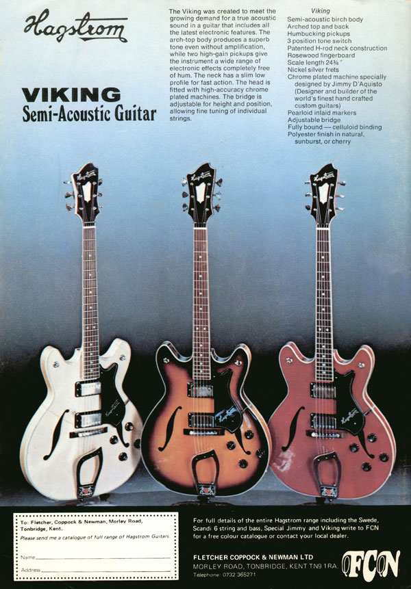 Hagstrom advertisement (1977) Viking Semi Acoustic Guitar