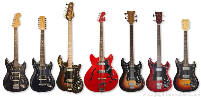 1960s and 70s Hagstrom guitars - from left to right: HIII, H12, Coronado IV, Concord bass, H8 bass, HIIBN, HIIN-OT