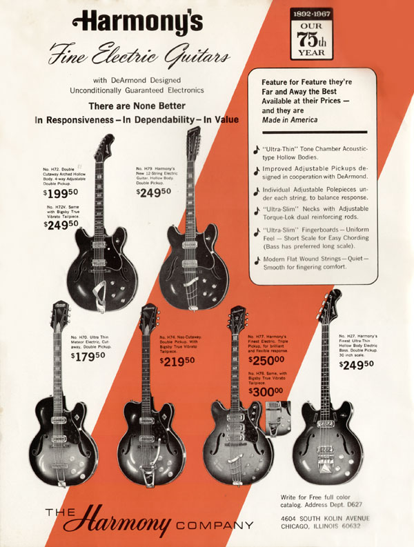 Harmony advertisement (1967) Harmonys Fine Electric Guitars