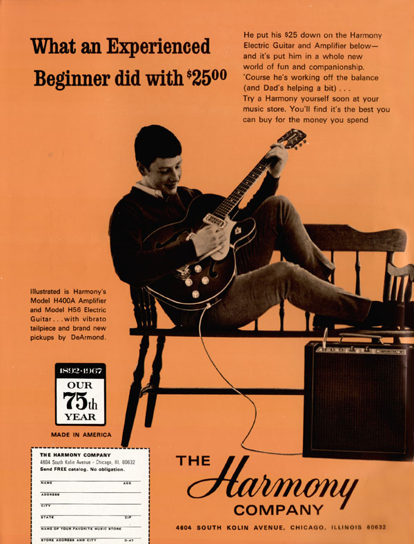 Harmony advertisement (1967) What An Experienced Beginner Did With $25.00