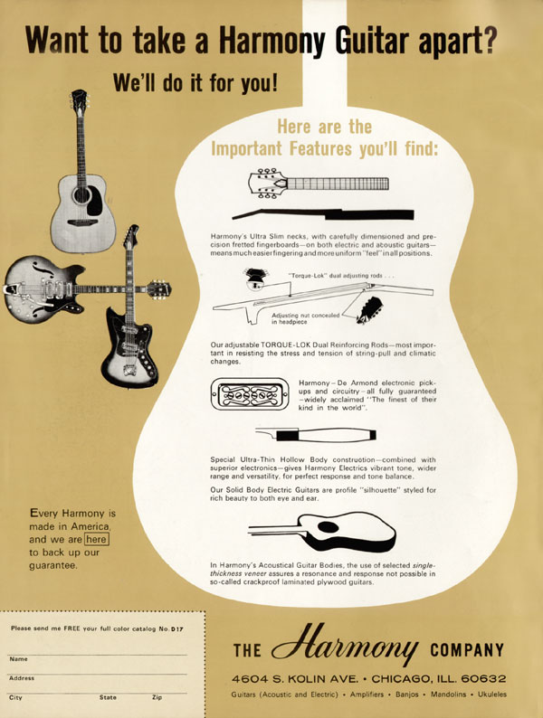Harmony advertisement (1967) Want To Take A Harmony Guitar Apart