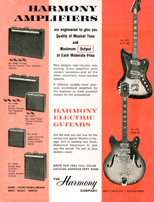 Harmony advertisement (1965) Harmony Amplifiers - Harmony Electric Guitars
