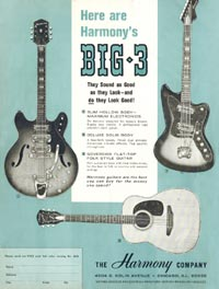 1966 Harmony advertisement featuring the H76 thinline semi acoustic, the H19 solid body electric and the 1260 flat-top acoustic