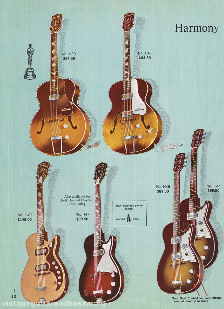 1965 Harmony Catalogue page 10 - Harmony Hollywood and Stratotone electric guitars