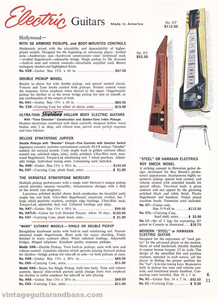 1965 Harmony Catalogue page 11 - Harmony Hollywood, Stratotone and Hawaiian Steel electric guitars