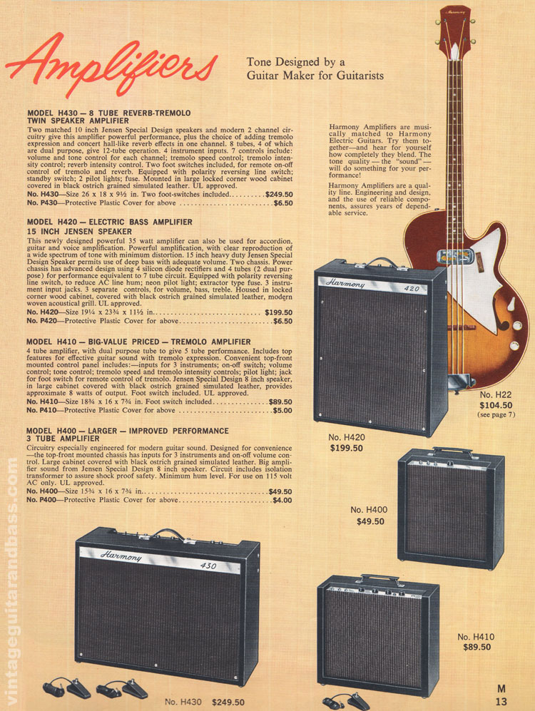 1965 Harmony Catalogue page 13 - Harmony H400, H410, H420 and H430 guitar amplifiers