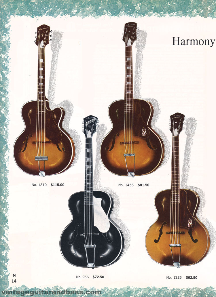 1965 Harmony Catalogue page 14 - Harmony 956, 1310, 1325, and 1456 arched acoustic guitars