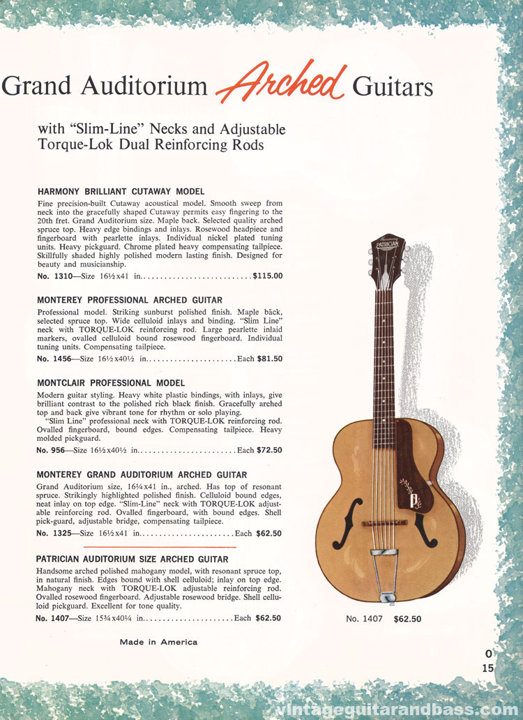 1965 Harmony Catalogue page 15 - Harmony 956, 1310, 1325, 1407 and 1456 arched acoustic guitars
