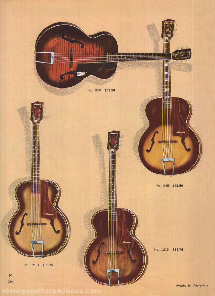 1965 Harmony Catalogue page 16 - Harmony 945 Master, 950 Monterey Leader and 1213 and 1215 Archtone acoustics