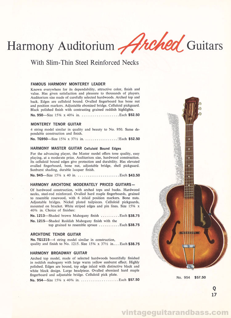 1965 Harmony Catalogue page 17 - acoustic Golden Harmony