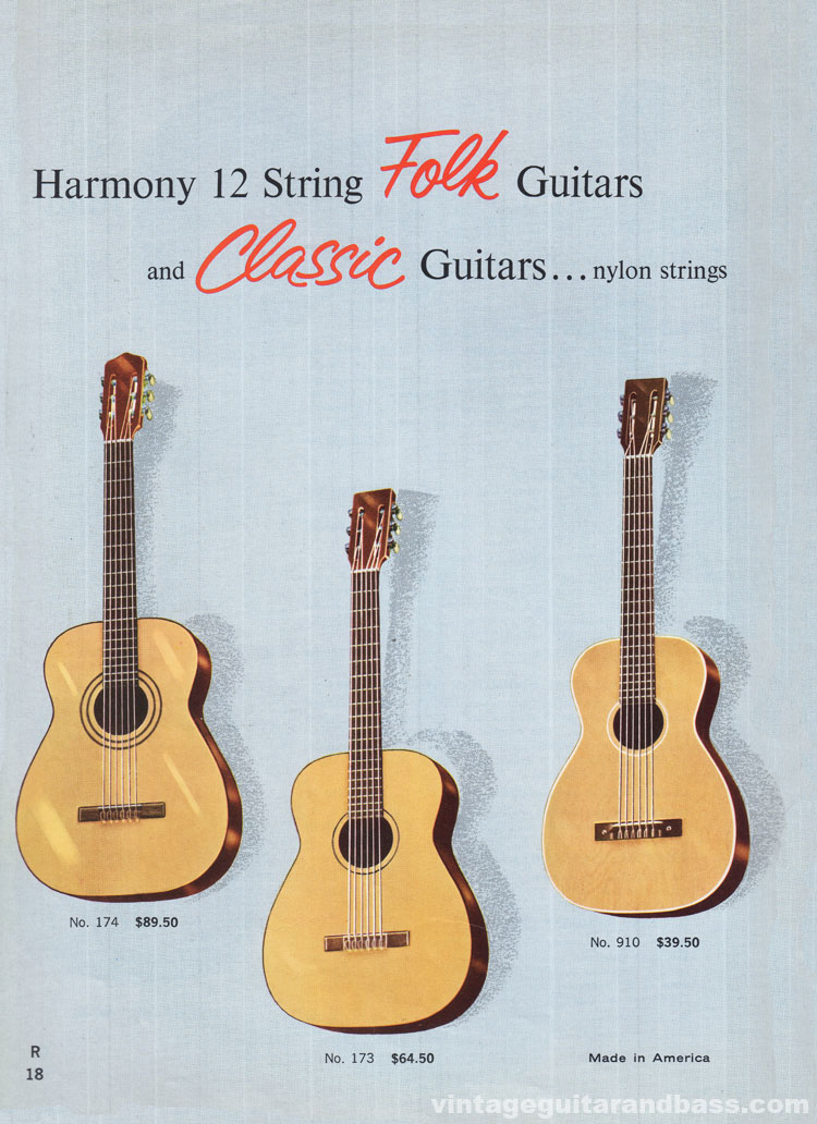 1965 Harmony Catalogue page 18 - Harmony 173 and 174 Classic Guitars, and 910 Stella Classic