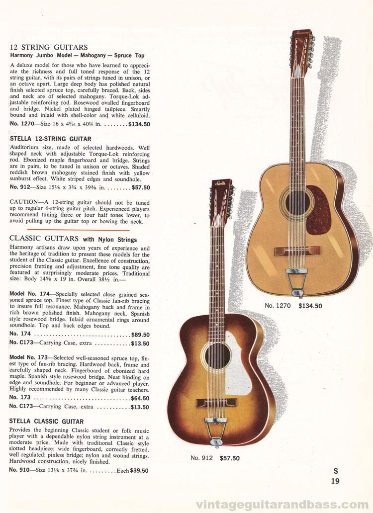 1965 Harmony Catalogue page 19 - Harmony President acoustic
