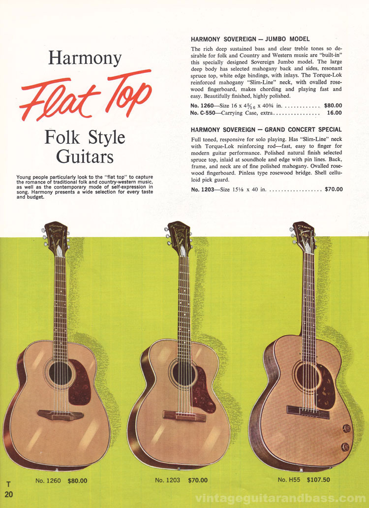 1965 Harmony Catalogue page 20 -Harmony Sovereign Jumbo, Grand Concert Special and H55 acoustic guitars