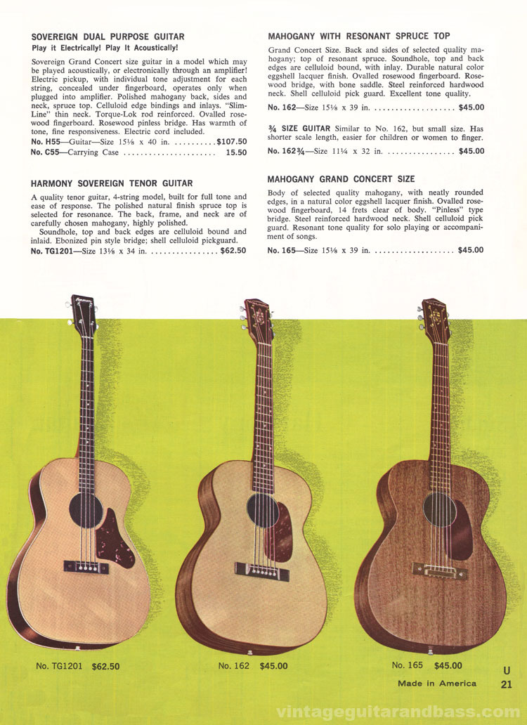 1965 Harmony Catalogue page 21 - Harmony H55, 162, 165 and TG1201 tenor guitar