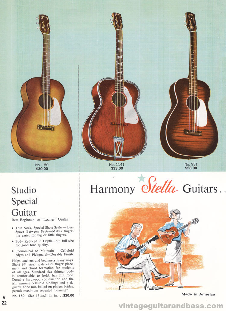 1965 Harmony Catalogue page 22 - Harmony Studio Special and Harmony Stella 931 and 1141