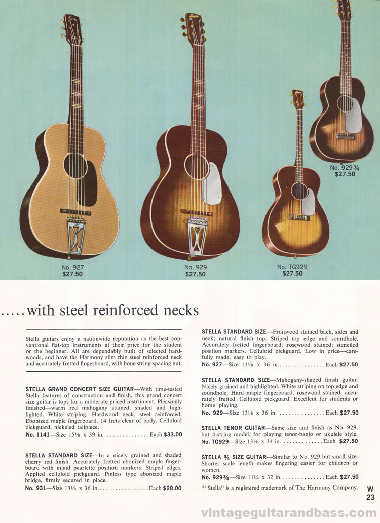 1965 Harmony Catalogue page 23 - Stella 1141, 927, 929 and 931 flat top acoustic guitars