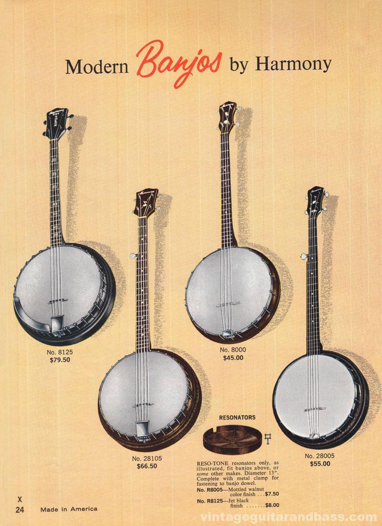 1965 Harmony Catalogue page 24 - Harmony Banjos, models 8000, 8125, 28005, 28105