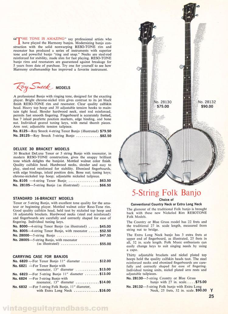 1965 Harmony Catalogue page 25 - Harmony Banjos