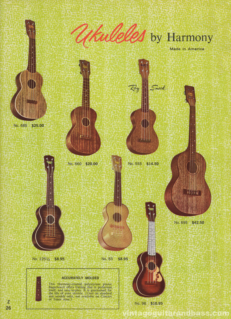 1965 Harmony Catalogue page 26 - Ukuleles