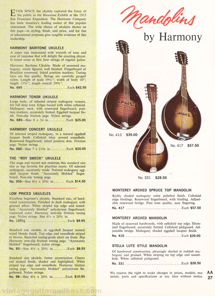 1965 Harmony Catalogue page 27 - Harmony pickups