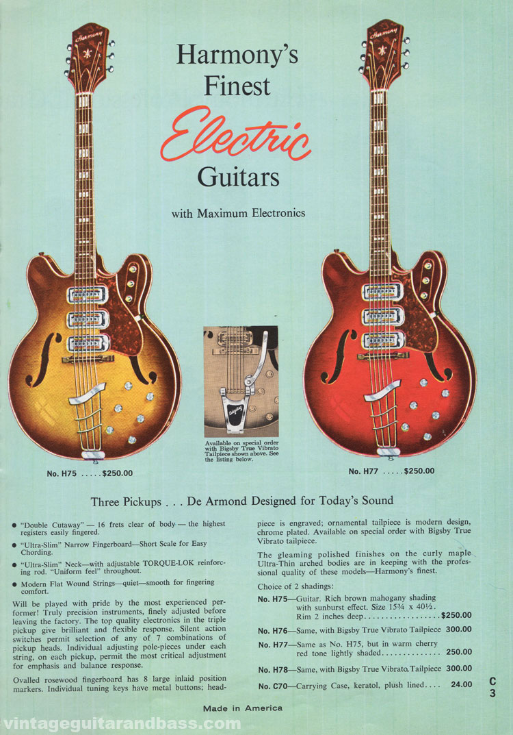 1965 Harmony Catalogue page 3 -  Harmony H75, H76, H77 and H78