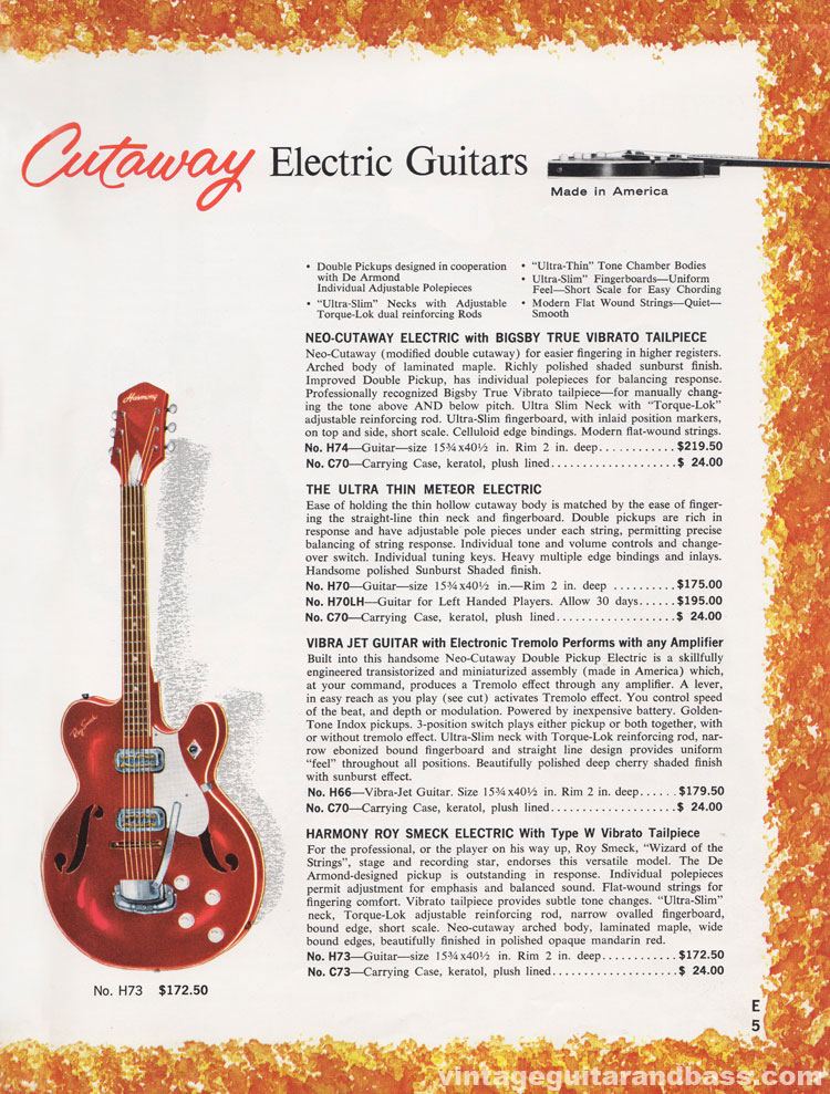 1965 Harmony Catalogue page 5 - H73 Roy Smeck signature