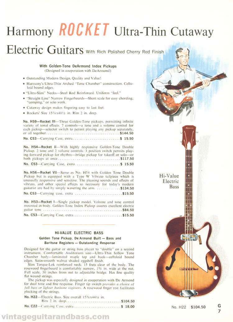 1965 Harmony Catalogue page 7 - Harmony Rocket, H22 bass