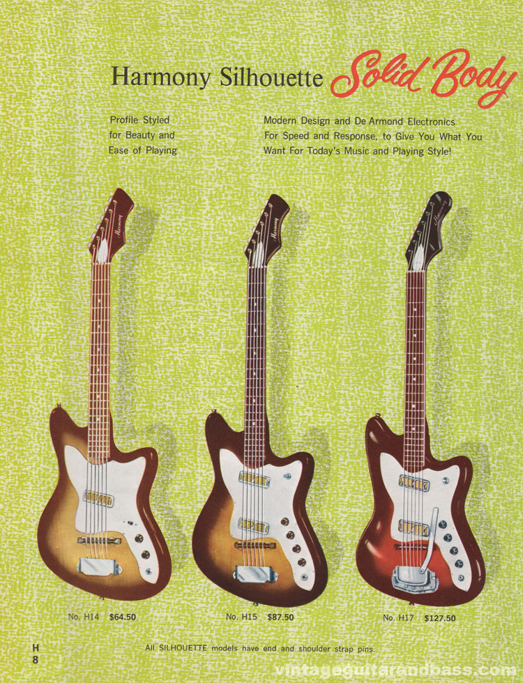 1965 Harmony Catalogue page 8 - Harmony Silhouette solid body guitars, H14, H15, H17