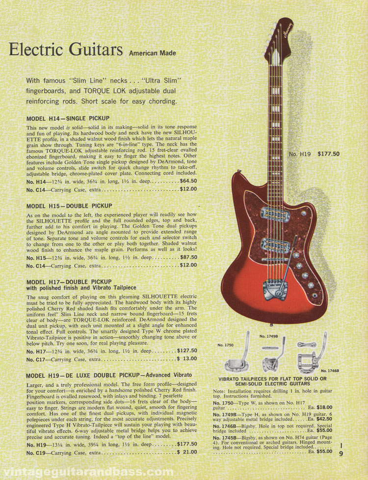 1965 Harmony Catalogue page 9 - Harmony Silhouette solid body guitars, H14, H15, H17 and H19