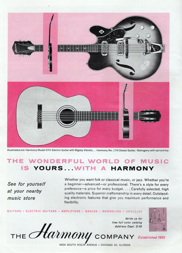 Harmony advertisement (1963) The wonderful world of music is yours... with a Harmony