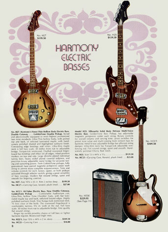 Harmony bass guitars in the 1971 Harmony Catalogue