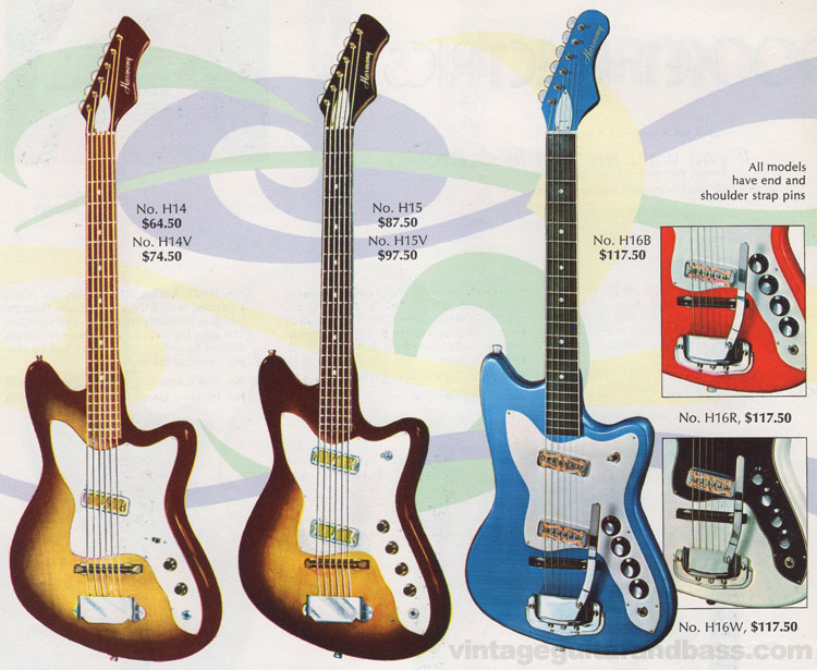 H14, H15 and H16 Bob Kat guitars from the 1968 Harmony catalogue