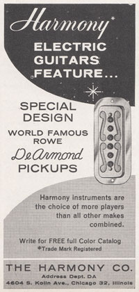 Harmony guitars use De Armond pickups, 1965