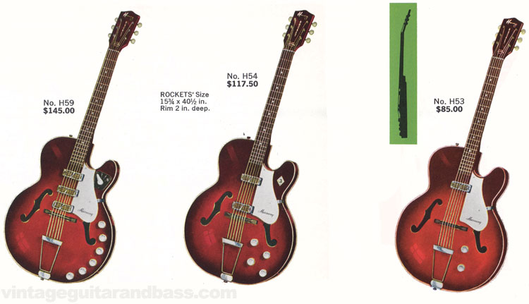 H53, H54 and H59 Rocket guitars from the 1963 Harmony catalogue