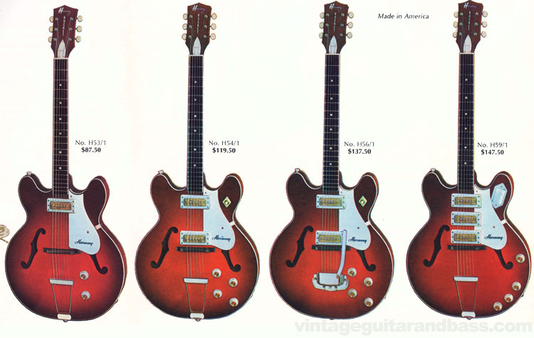 H53/1, H54/1, H56/1 and H59/1 Rocket guitars from the 1968 Harmony catalogue