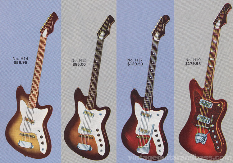 H14, H15, H17 and H19 Silhouette guitars from the 1963 Harmony catalogue