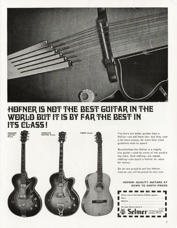 Hofner advertisement (1968) Hofner is Not the Best Guitar in the World But it is By Far the Best in its Class