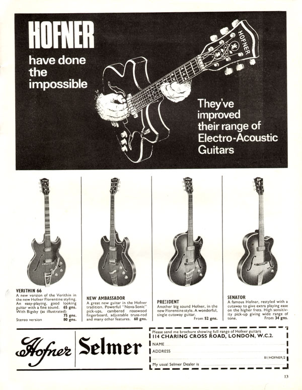 Hofner advertisement (1966) Hofner Have Done The Impossible