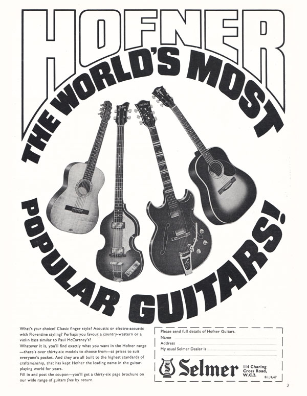 Hofner advertisement (1967) Hofner The World