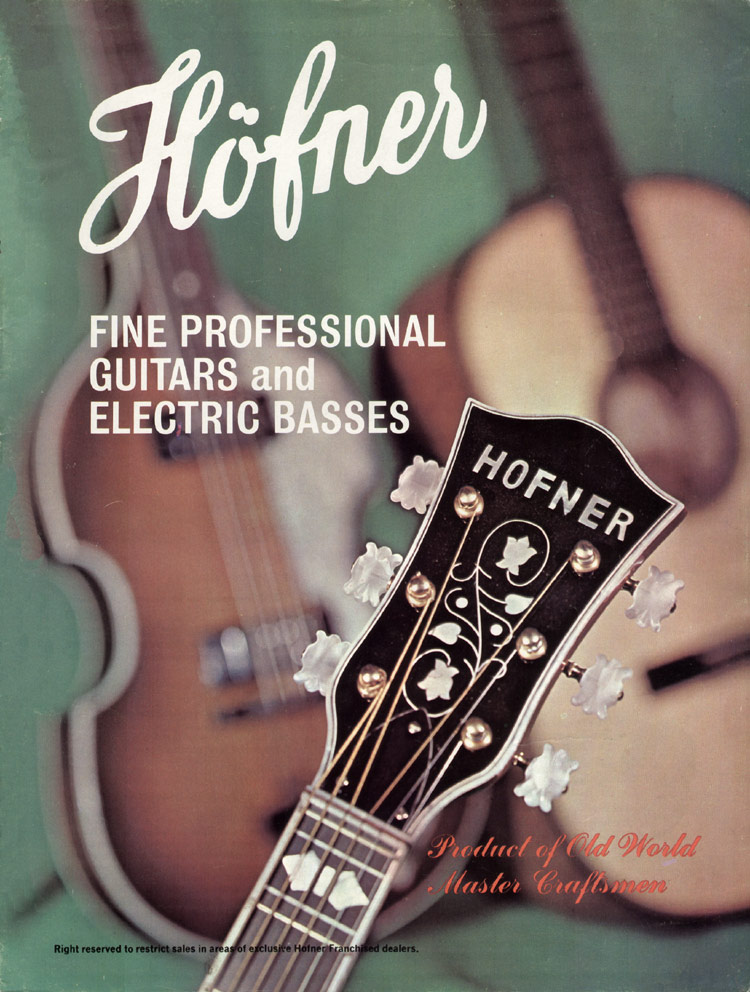 1967 Hofner electric guitar and bass catalogue - front cover