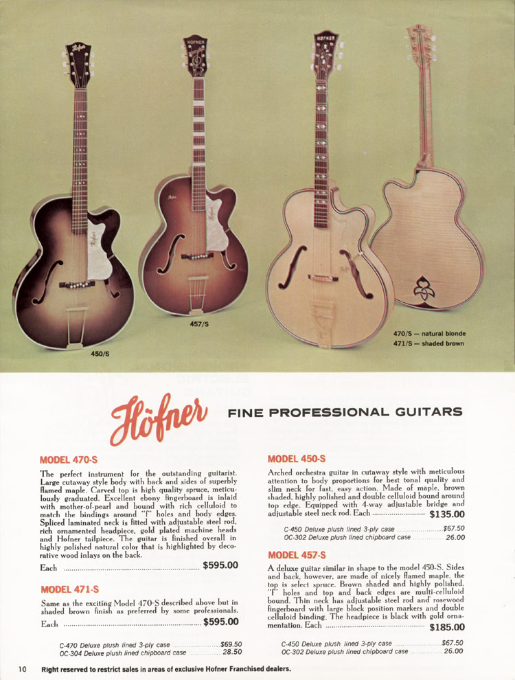 1967 Hofner electric guitar and bass catalogue - page 10 - Hofner 450/5, 457/S, 470/S and 471/S