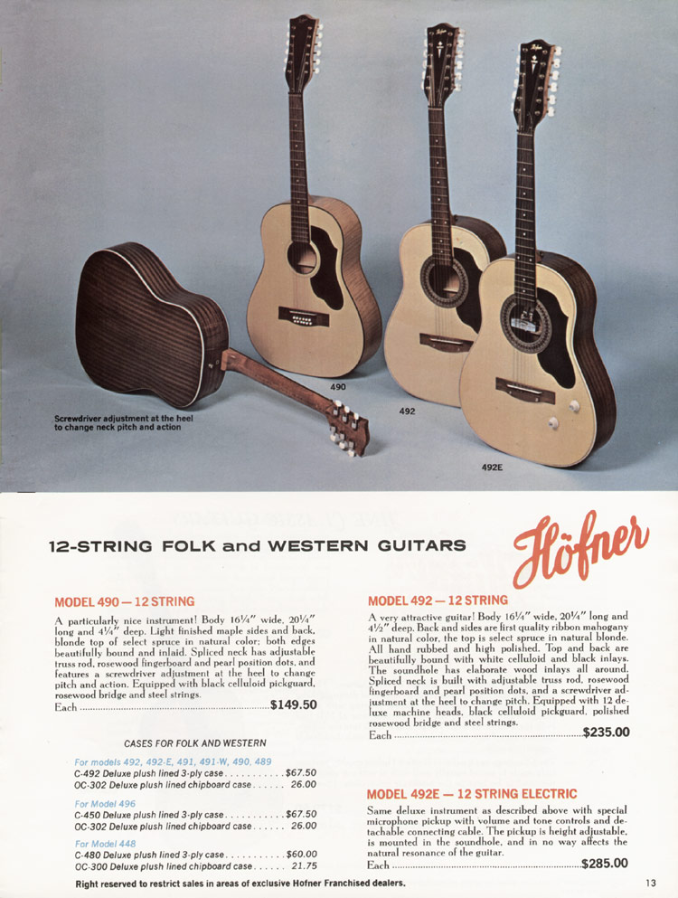 1967 Hofner electric guitar and bass catalogue - page 13
