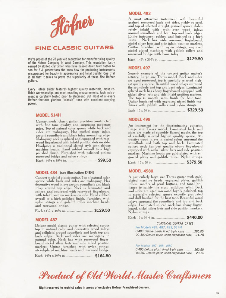 1967 Hofner electric guitar and bass catalogue - page 15
