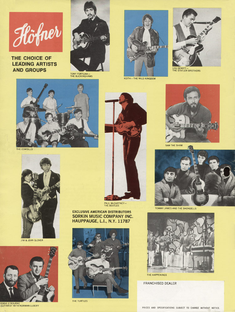 1967 Hofner electric guitar and bass catalogue - page 16 - artists using Hofner