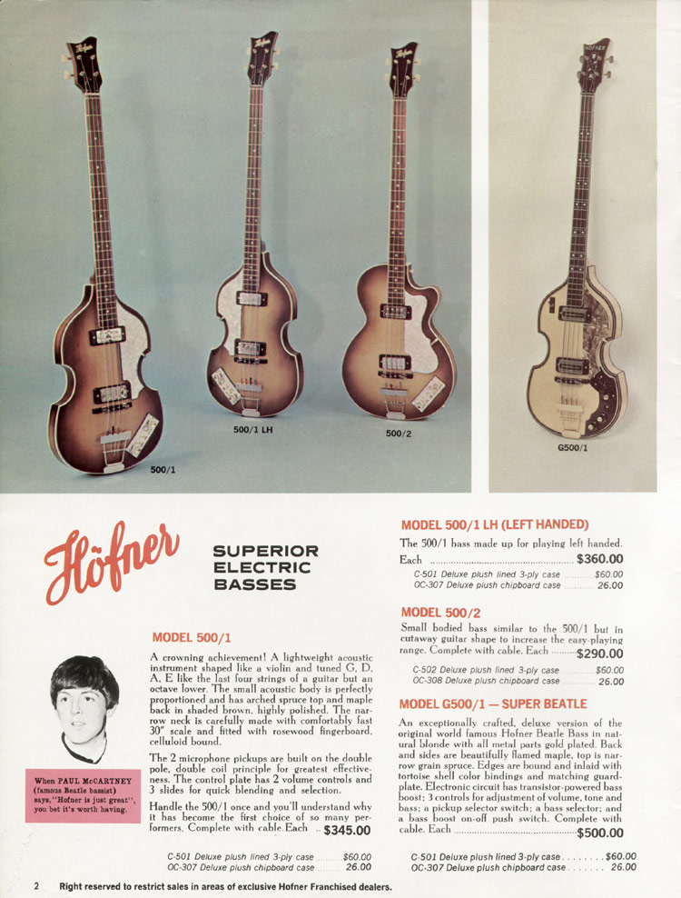 1967 Hofner electric guitar and bass catalogue - page 2 - Hofner 500/1, G500/1 and 500/2 bass guitars