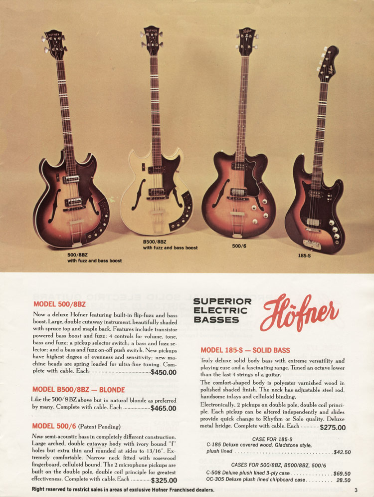 1967 Hofner electric guitar and bass catalogue - page 3 - Hofner 500/8BZ, B500/8BZ, 500/6 and 185-S basses