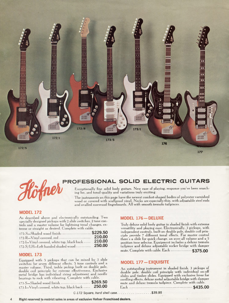 1967 Hofner electric guitar and bass catalogue - page 4 - Hofner 172, 173, 176 and 177 solid body guitars