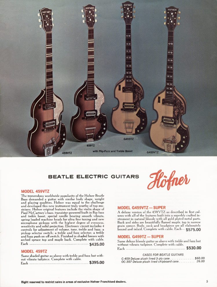 1967 Hofner electric guitar and bass catalogue - page 5 - Hofner 459 series violin shaped guitars