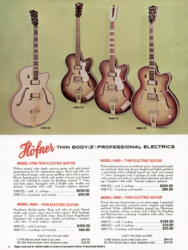 1967 Hofner electric guitar and bass catalogue - page 6 - Hofner 4500, 4560, 4680 and 4700 thinlines